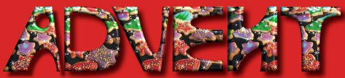 El advenimiento está viniendo letras y galletas grandes en un backgr de la Navidad fotografía de archivo