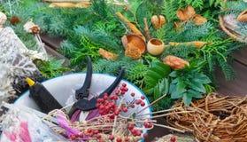 El advenimiento floristry, jardín scissors, arma de pegamento Fotos de archivo libres de regalías