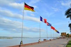 El AEC señala por medio de una bandera Imagenes de archivo