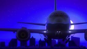 El aeroplano de Atlantic City New Jersey los E.E.U.U. saca viaje azul del horizonte de la noche de la luna metrajes