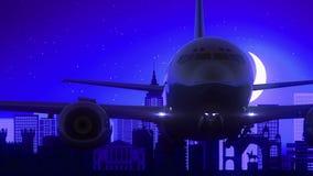 El aeroplano de Bangalore la India saca viaje azul del horizonte de la noche de la luna metrajes