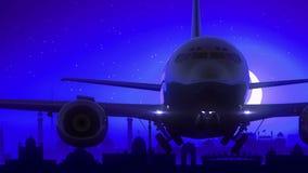 El aeroplano de Delhi la India saca viaje azul del horizonte de la noche de la luna almacen de metraje de vídeo