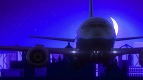 El aeroplano de Kolkata la India saca viaje azul del horizonte de la noche de la luna almacen de metraje de vídeo