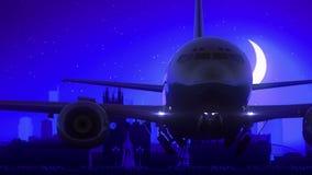 El aeroplano de Manchester Inglaterra Reino Unido saca viaje azul del horizonte de la noche de la luna