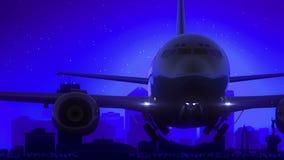 El aeroplano de Wichita Kansas los E.E.U.U. América saca viaje azul del horizonte de la noche de la luna stock de ilustración