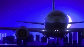 El aeroplano de Winnipeg Canadá saca viaje azul del horizonte de la noche de la luna ilustración del vector