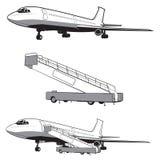 El aeroplano está aterrizando y despegue, el engranaje Recorrido y transporte Icono plano en estilo monocromático airlines Aislad ilustración del vector