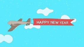 El aeroplano está pasando a través de las nubes con la bandera del ` de la Feliz Año Nuevo del ` - lazo inconsútil