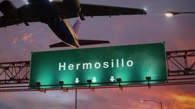 El aeroplano saca Hermosillo durante una salida del sol maravillosa stock de ilustración
