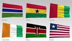 El africano animado señala la colección por medio de una bandera con el canal alfa, Gambia, Ghana, Guinea, Costa de Marfil, Kenia libre illustration