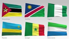 El africano animado señala la colección por medio de una bandera con el canal alfa, Mozambique, Namibia, Nigeria, Rwanda, Senegal stock de ilustración