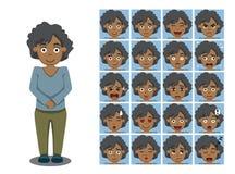 El afroamericano Brother Cartoon Emotion hace frente al ejemplo del vector Fotografía de archivo libre de regalías