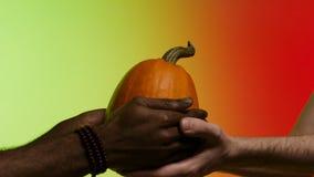 El afroamericano da una calabaza madura, brillante, jugosa al hombre blanco, manos aisladas en fondo rojo y amarillo existencias imagen de archivo