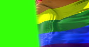 El agitar colorido de la bandera del arco iris del orgullo gay, bandera de la derecha civil, paz en el concepto del mundo en la p stock de ilustración