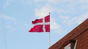 El agitar danés de la bandera almacen de metraje de vídeo