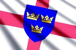 El agitar de East Anglia y ejemplo coloridos de la bandera del primer libre illustration
