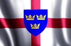 El agitar de East Anglia y ejemplo coloridos de la bandera del primer ilustración del vector