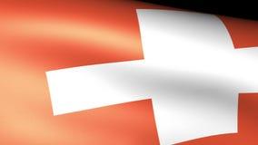 El agitar de la bandera de Suiza ilustración del vector