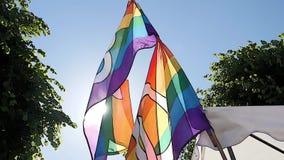 El agitar de la bandera del arco iris del orgullo gay LGBT metrajes