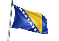 El agitar de la bandera nacional de Bosnia y Herzegovina aislado en el ejemplo realista 3d del fondo blanco fotografía de archivo