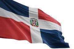 El agitar de la bandera nacional de la República Dominicana aislado en el ejemplo blanco del fondo 3d stock de ilustración