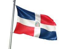 El agitar de la bandera nacional de la República Dominicana aislado en el ejemplo realista 3d del fondo blanco ilustración del vector