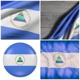 El agitar de la bandera de la república de Nicaragua Foto de archivo