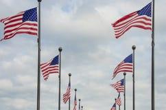 El agitar de las banderas americanas Imagen de archivo libre de regalías
