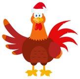 El agitar del carácter de Santa Rooster Bird Cartoon Mascot Ilustración del Vector