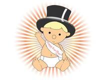 El agitar del marco del sombrero del Año Nuevo del bebé que desgasta adorable Imagen de archivo libre de regalías