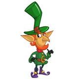 El agitar del personaje de dibujos animados del duende del día del St Patricks Ilustración del vector Imagenes de archivo