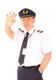 El agitar del piloto de la línea aérea imágenes de archivo libres de regalías