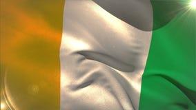 El agitar grande de la bandera nacional de Costa de Marfil ilustración del vector