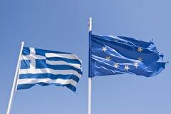 Bandera griega y europea Imágenes de archivo libres de regalías