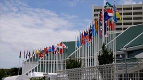 El agitar internacional de las banderas almacen de metraje de vídeo