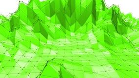 El agitar polivinílico bajo verde del fondo Superficie polivinílica baja abstracta como fondo del CG en diseño polivinílico bajo  metrajes