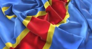 El agitar rizado bandera de República Democrática del Congo maravillosamente imagen de archivo libre de regalías