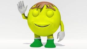 El agitar sonriente amarillo de la cara almacen de metraje de vídeo