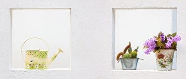 El agua amarilla colorida linda de la vendimia puede y flor imagen de archivo
