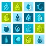 El agua cae iconos ilustración del vector