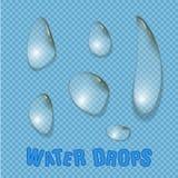 El agua cae vector aislado realista El agua transparente cae la superficie Imagen de archivo