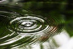 El agua como las ondas separadas hacia fuera sobre el círculo es causada por la condensación Imágenes de archivo libres de regalías