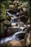 El agua de la fuente fluye suavemente sobre las rocas Imagen de archivo libre de regalías