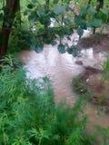 El agua de la lluvia está pasando a través del canal foto de archivo