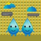El agua del diseño de carácter cae la conversación Fotografía de archivo libre de regalías