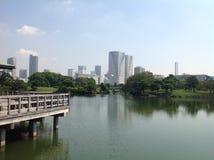 El agua en el parque al lado de rascacielos Imagen de archivo libre de regalías