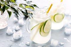 El agua infundida fría y de restauración del Detox con la cal en un vidrio sacude la limonada sabrosa de la cal horizontal Fotos de archivo