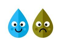 El agua limpia y sucia cae el icono de los caracteres en el fondo blanco Concepto de la ecología Fotografía de archivo libre de regalías