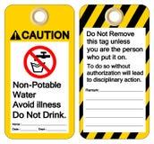 El agua No-potable de la precauci?n evita enfermedad hace no la muestra del s?mbolo de la bebida, ejemplo del vector, aislante en stock de ilustración