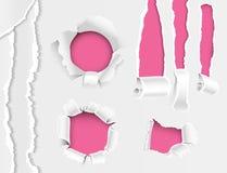 El agujero rasgado de los bordes laceró la colección realista desigual del ejemplo del vector del estilo 3d del borde de papel y  Imágenes de archivo libres de regalías